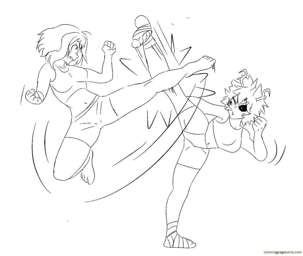 Uraraka vs Mina Ashido Coloring Page