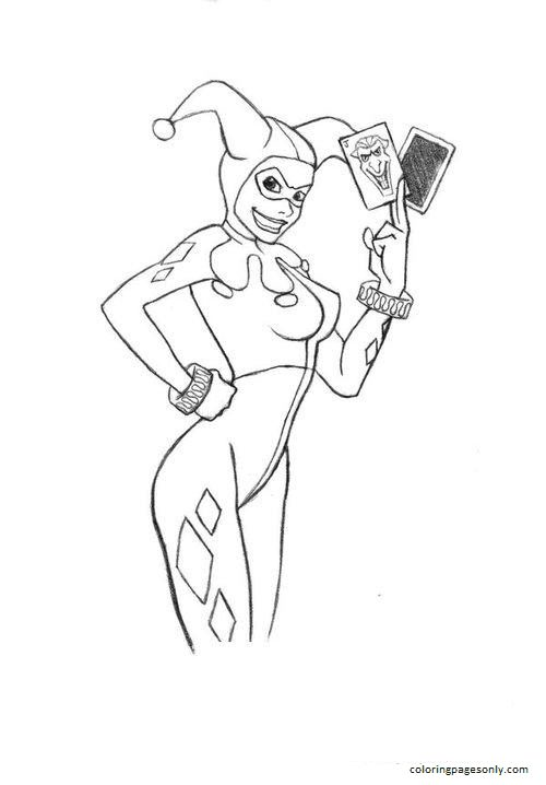 With Joker Card  Harley Quinn Coloring Page