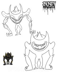 Demon Beast Bendy, the final boss of Bendy and the Ink Machine Coloring Page