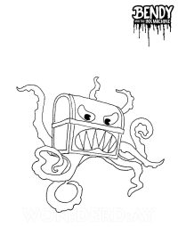 Chester with large eyes and huge sharp teeth from Bendy and the Ink Machine Coloring Page