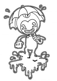 Bendy with his umbrella under the rain from Bendy and the Ink Machine Coloring Page