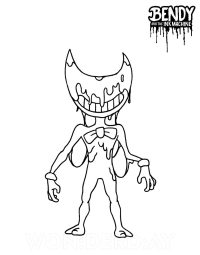 Bendy with the ink covered his face bring bow tie from Bendy and the Ink Machine Coloring Page