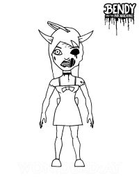 Alice demon from Bendy and the Ink Machine Coloring Page