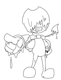 Bendy the ink covered his face pointing something from Bendy and the Ink Machine Coloring Page