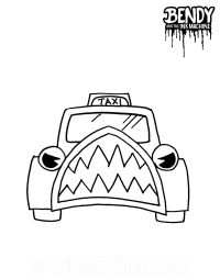 Taxi in Bendy in Nightmare run from Bendy and the Ink Machine Coloring Page