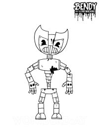 Bendy animatronic split in half between the torso and legs based Bendy and the Ink Machine Coloring Page