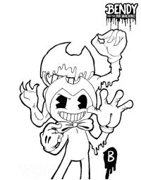 The Ink Bendy, as a failed recreation of Bendy from Bendy and the Ink Machine Coloring Page