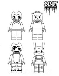 Lego Bendy and friends from Bendy and the Ink Machine Coloring Page