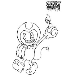 Bendy with tassel winkles his eye from Bendy and the Ink Machine Coloring Page