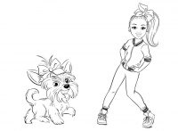 The dog Bow Bow dances with Jojo Siwa Coloring Page