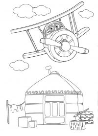 Super Wings Grand Albert flies above the house Coloring Page