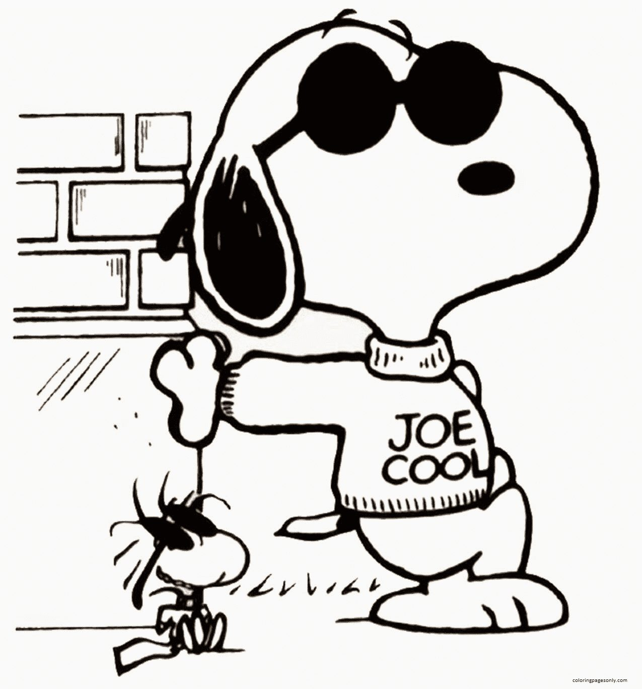 Woodstock And Snoopy 2 Coloring Page