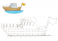 Connect the dots Yacht in the sea Coloring Page