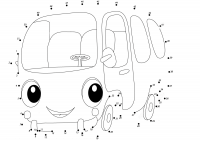 Connect the dots cartoon bus from 1 to 51 for toddlers Coloring Page