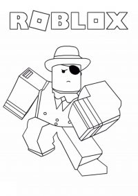 Roblox gangster runs in the marathon competition Coloring Page