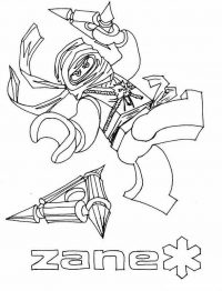 Zane in Ninjago throws Shurikens of Ice to enemies Coloring Page