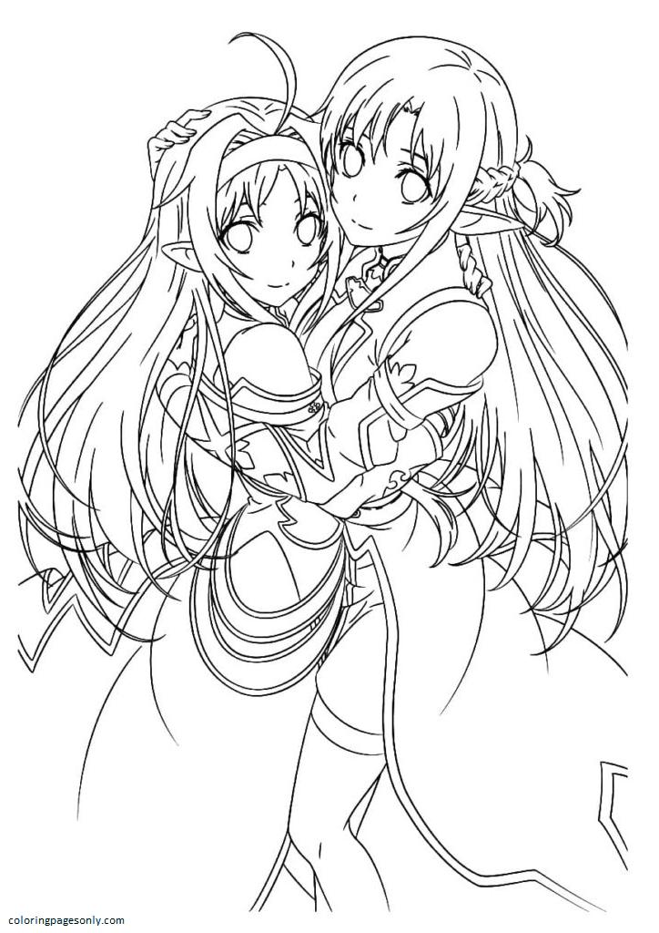 Yuki and Asuna Coloring Page