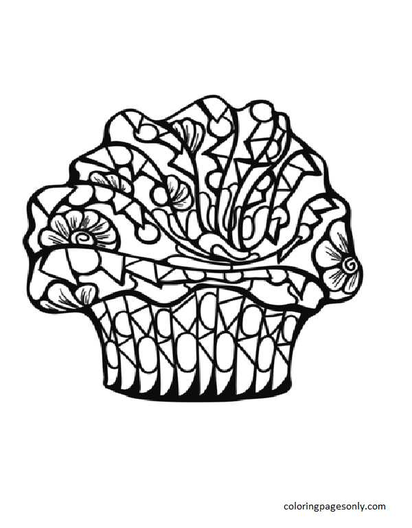 Zentangle Cupcake Coloring Page