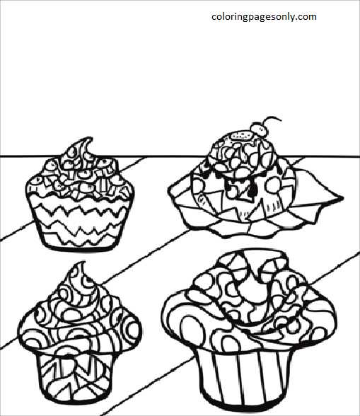 Zentangle Cupcakes and Muffins Coloring Page