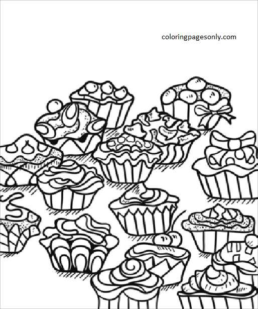 Zentangle Cupcakes Coloring Page