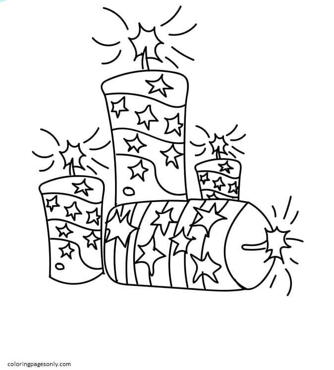 4th July Fire Crackers Coloring Page