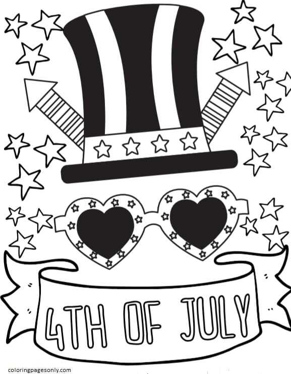 4th of July Patriotic Coloring Page