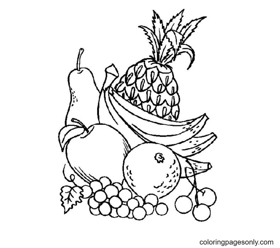 A Pile Of Fresh Fruits Coloring Page