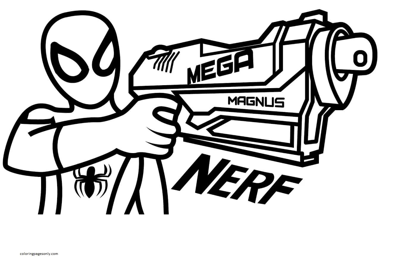 A Mega Nerf Blaster Coloring Page