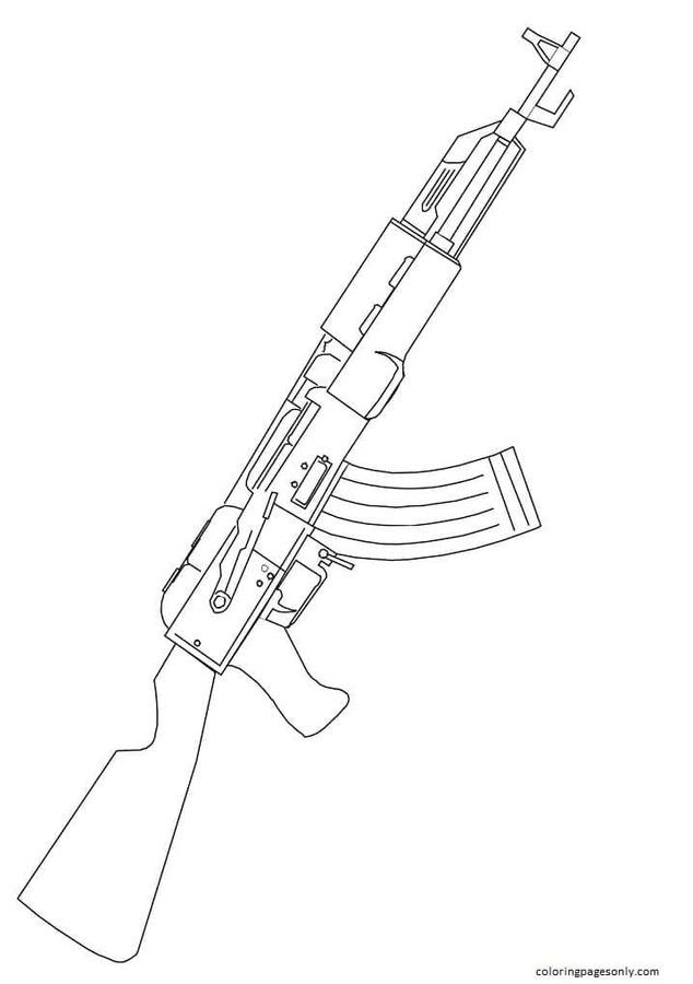 AK 47 Assault Rifle Coloring Page