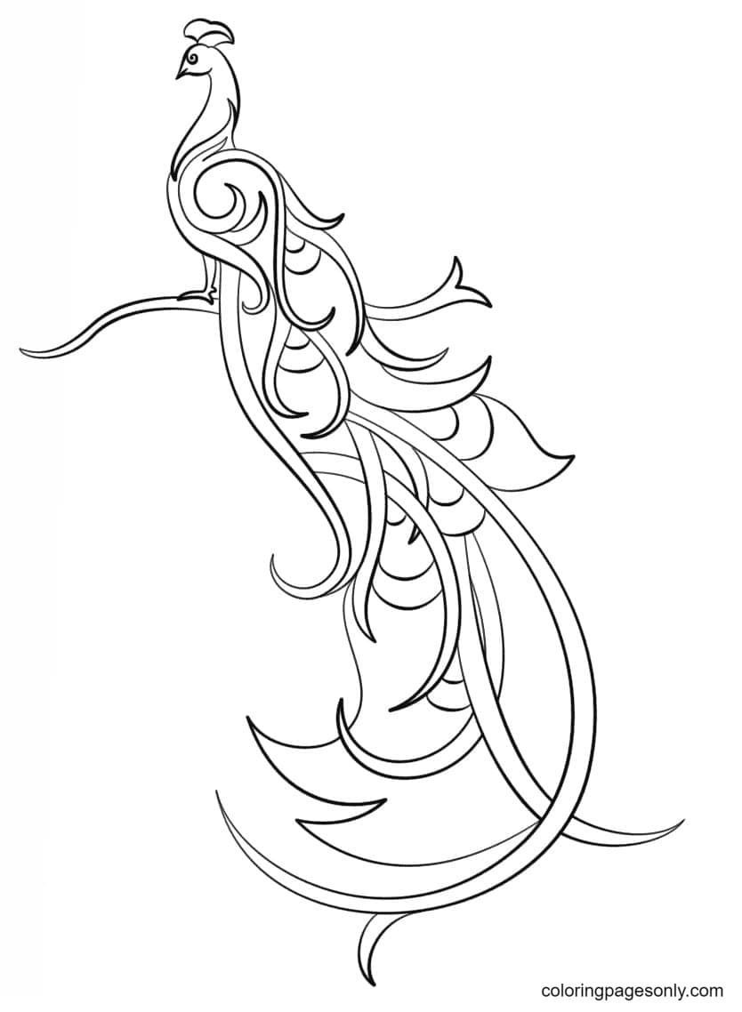 Abstract Peacock 1 Coloring Page
