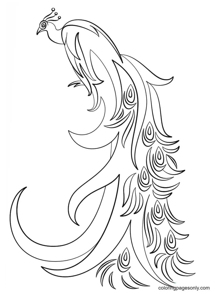 Abstract Peacock Coloring Page