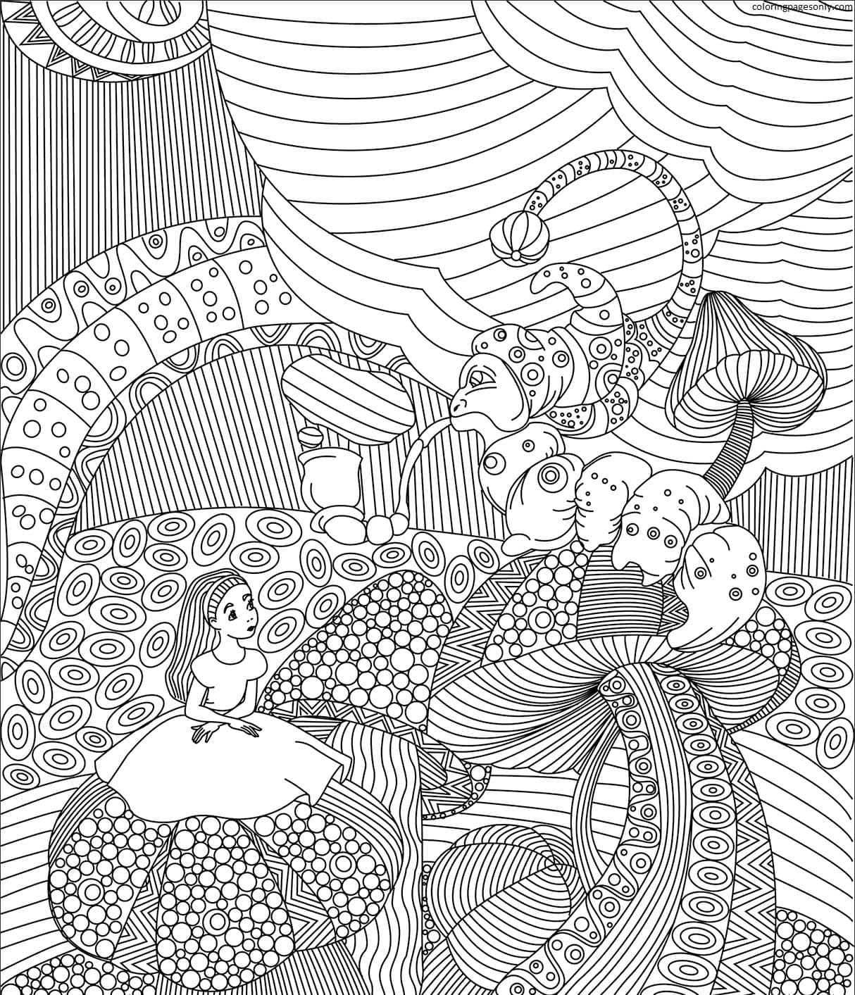 Alice Meets the Blue Caterpillar Coloring Page