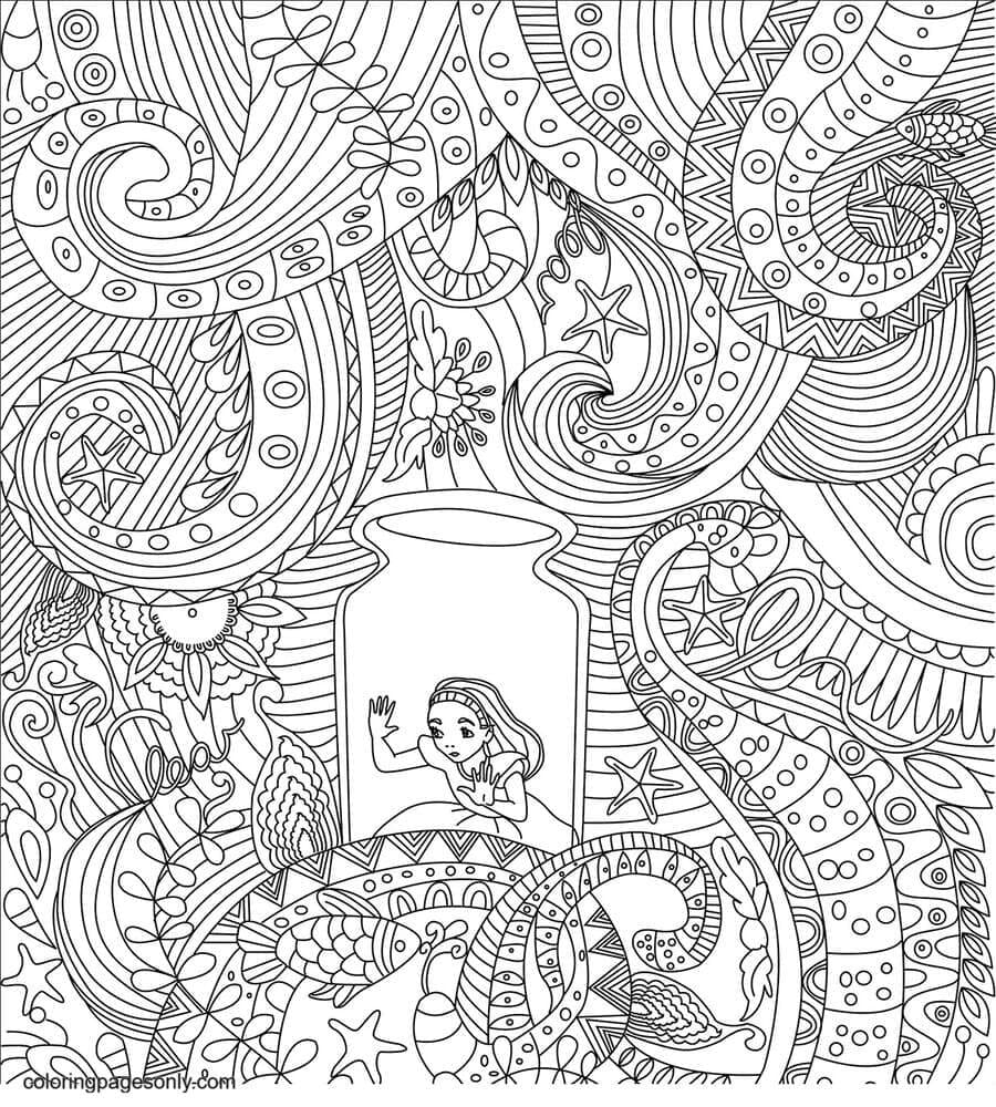 Alice in a Jar Coloring Page