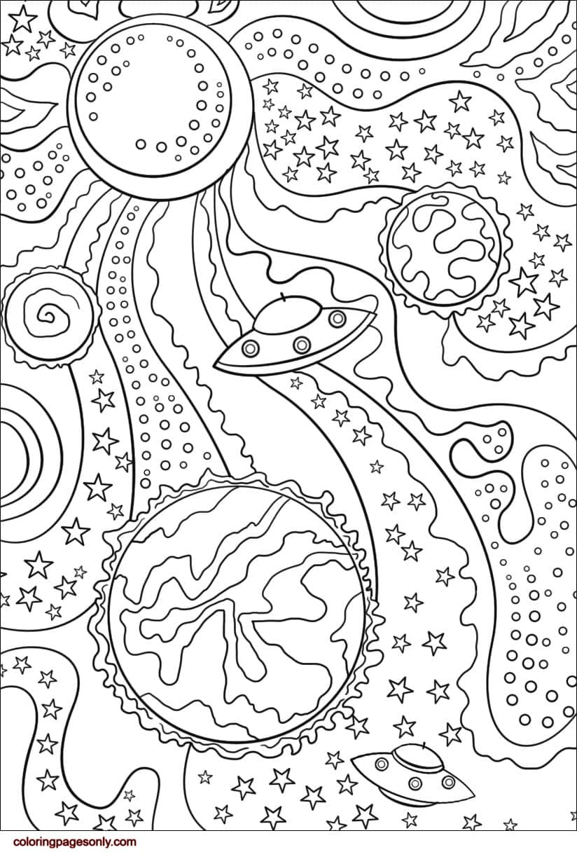 Alien Flying Saucer and Planets Coloring Page
