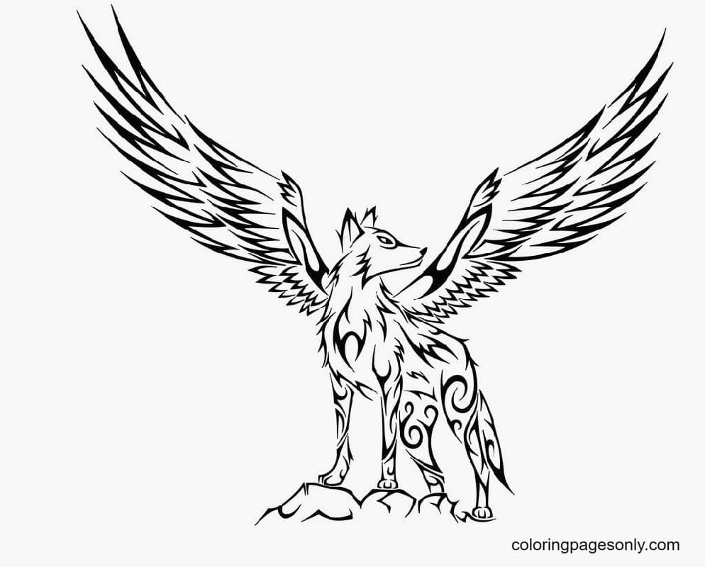 Amazing Winged Wolf Coloring Page