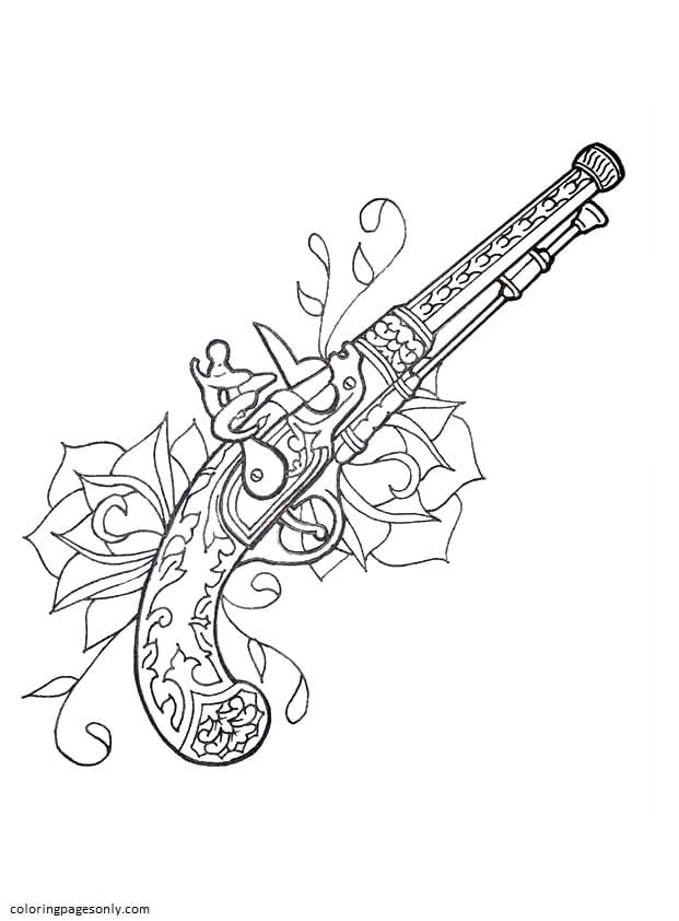 Ancient Gun Coloring Page