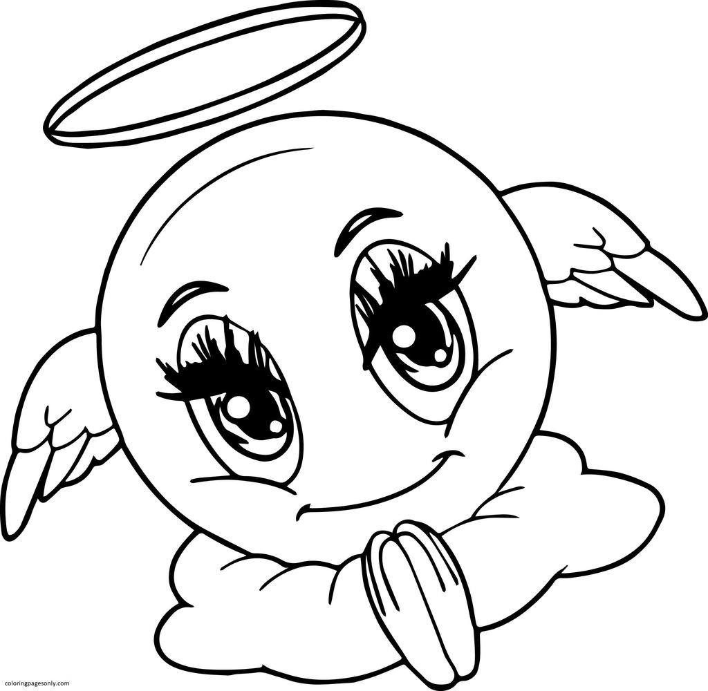 Angel Emoji Coloring Page