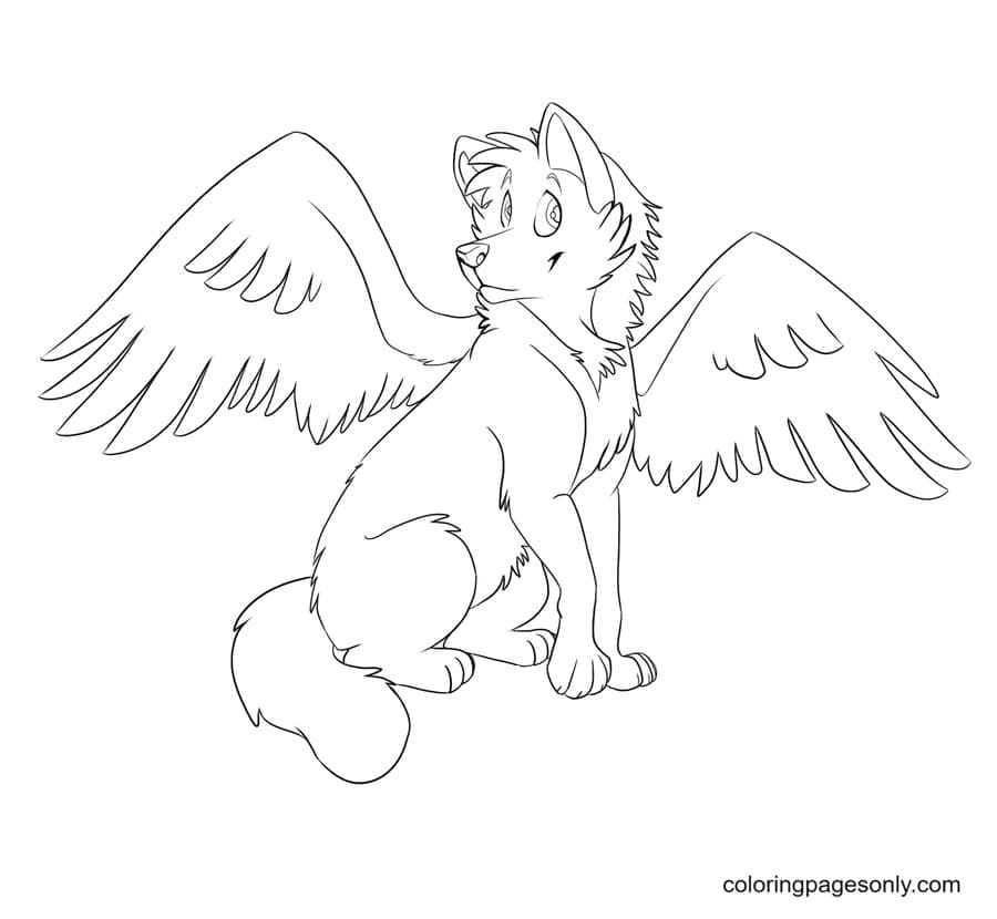 Angel Winged Wolf Coloring Page