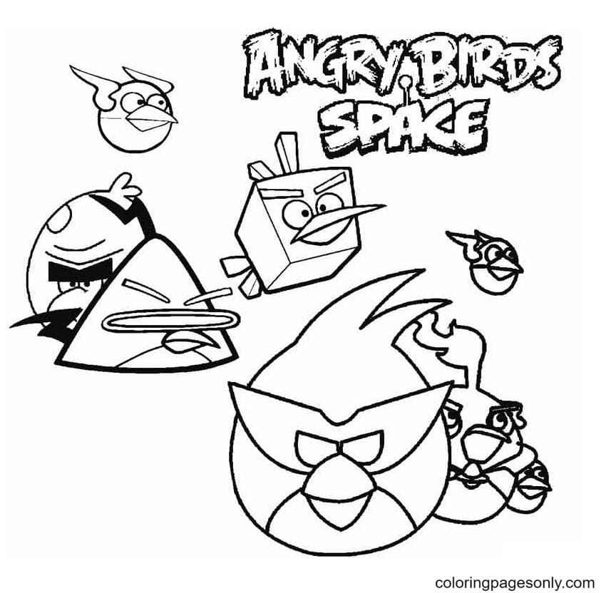 Angry Birds Space Print Coloring Page