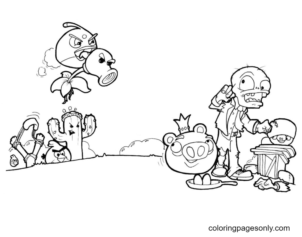 Angry Birds teamed up with plants to fight against pigs and zombies Coloring Page