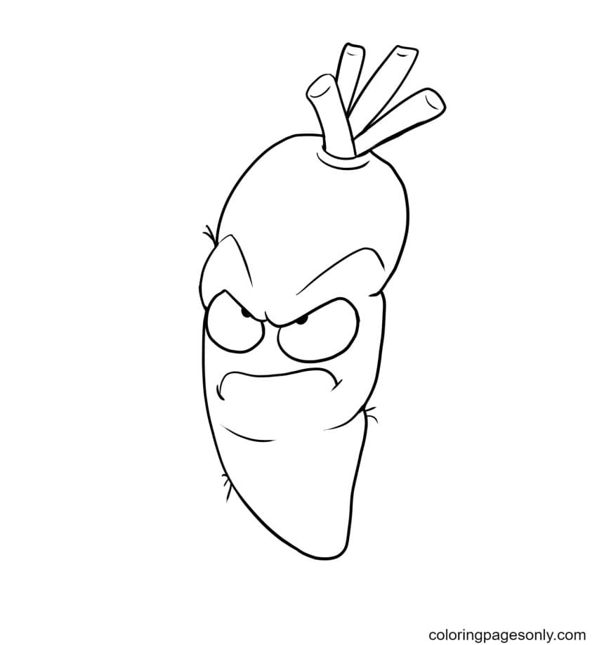 Angry Carot Coloring Page