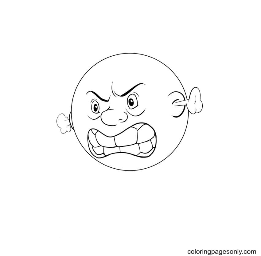 Angry Emotions Face Coloring Page
