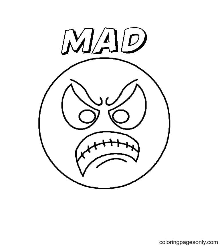 Angry Emotions Coloring Page