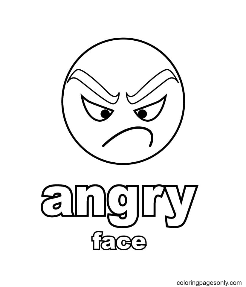 Angry Face Print Coloring Page