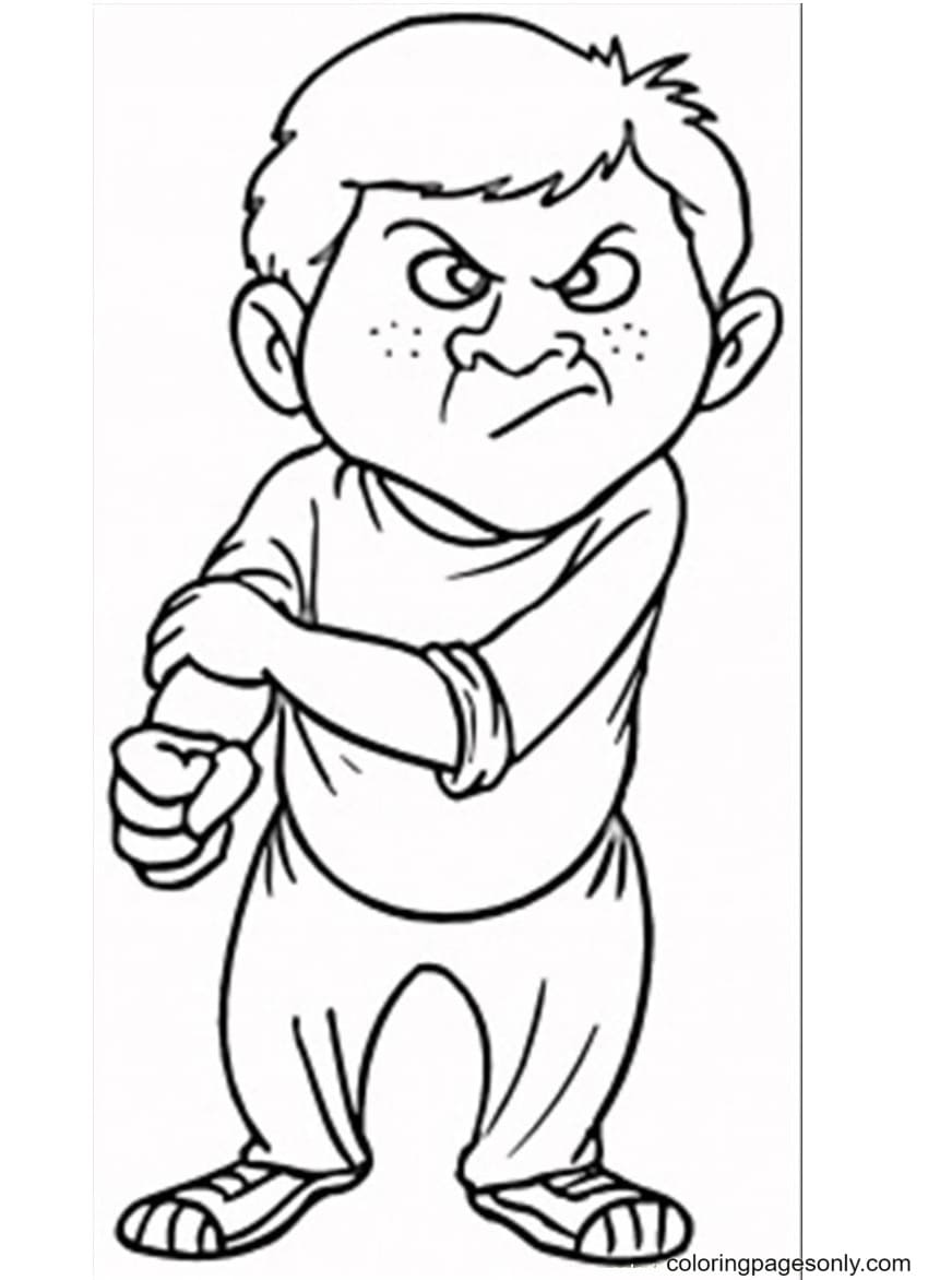 Angry Face Emoticon Coloring Page
