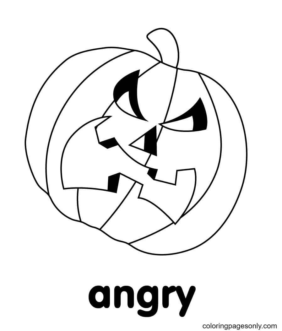 Angry Pumpkin Coloring Page
