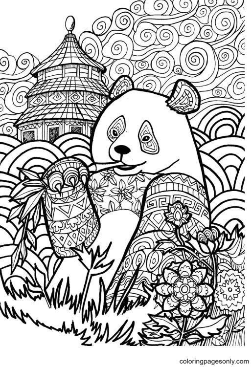 Animal Panda Mandala Coloring Page
