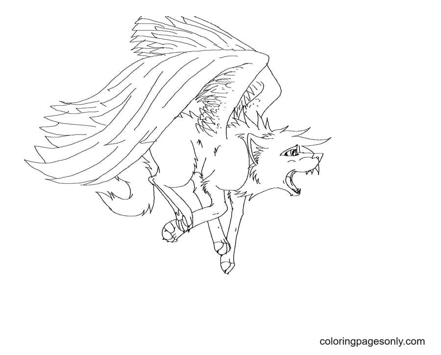 Anime Wolf With Wings Coloring Page