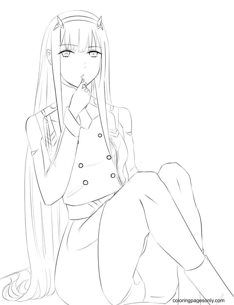 Anime Zero Two Coloring Page
