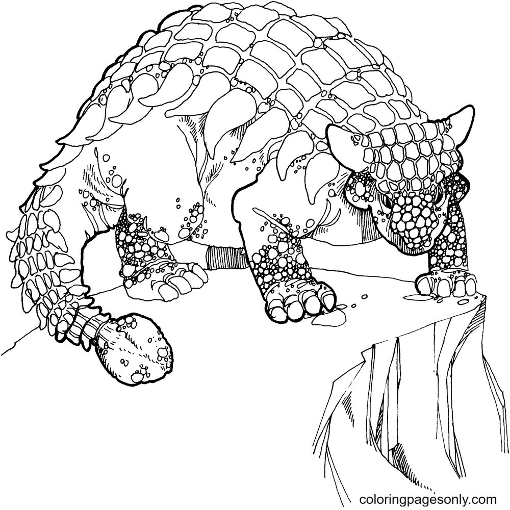 Ankylosaurus Cretaceous Period Dinosaurs Coloring Page